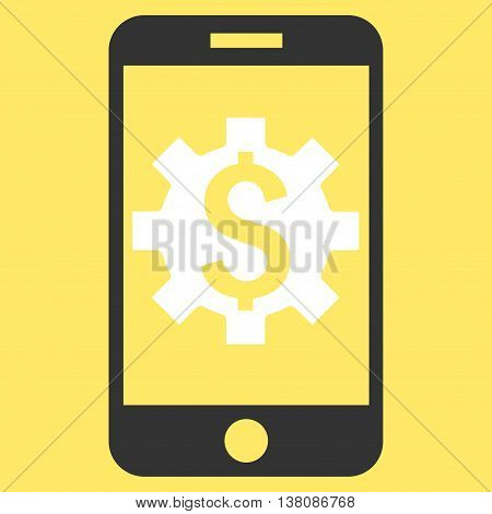 Mobile Bank Setup vector icon. Style is flat symbol, white color, yellow background.