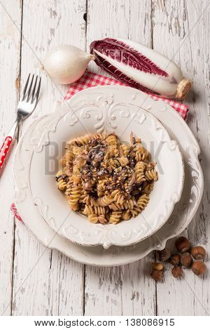 pasta with chicory and hazelnut