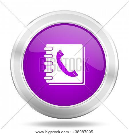 phonebook round glossy pink silver metallic icon, modern design web element