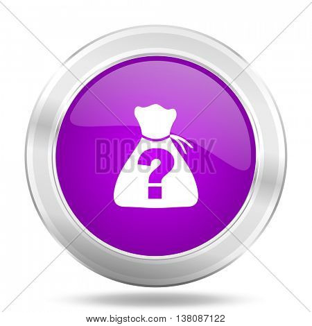riddle round glossy pink silver metallic icon, modern design web element