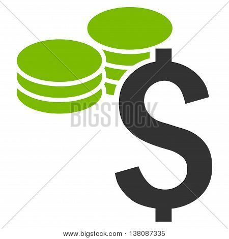 Dollar Coins vector icon. Style is bicolor flat symbol, eco green and gray colors, white background.