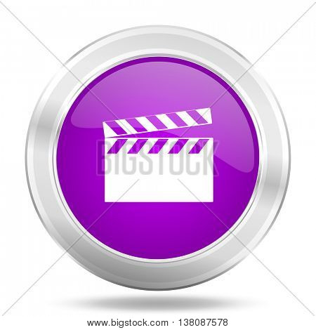 video round glossy pink silver metallic icon, modern design web element