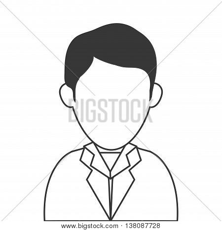 simple flat design faceless man wearing suit portrait icon vector illustration