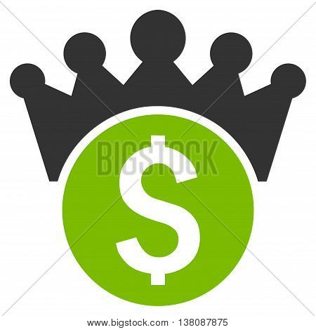 Financial Power vector icon. Style is bicolor flat symbol, eco green and gray colors, white background.