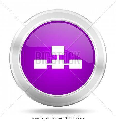 database round glossy pink silver metallic icon, modern design web element