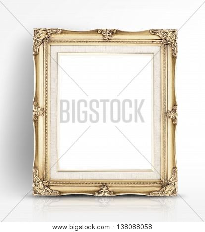 Blank Golden Vintage Photo Frame Lean At Wall In Glossy White Studio Room,template Mock Up For Addin
