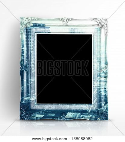 Double Exposure Of Vintage Photo Frame And City Landscape View In White Studio Room, Double Exposure