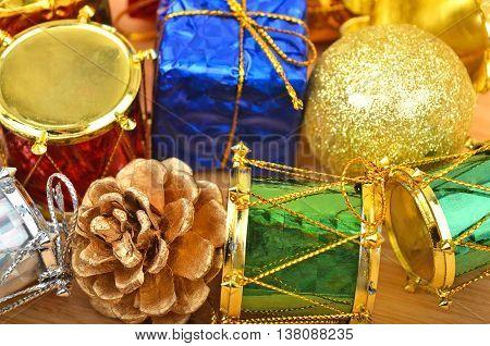 Christmas Decor On Wooden Background. Dof