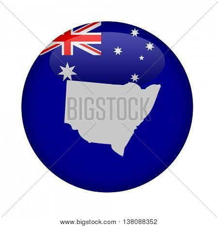 Australia state of New South Wales button on a white background.
