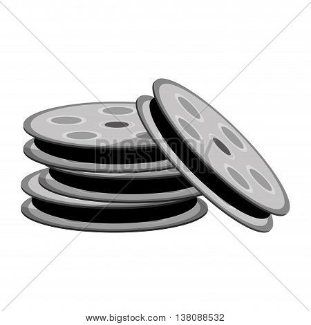 flat design film reels icon vector illustration