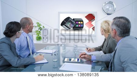 Business team looking at time clock against app account for smart watch