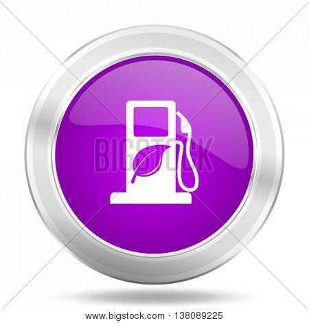 biofuel round glossy pink silver metallic icon, modern design web element