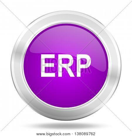 erp round glossy pink silver metallic icon, modern design web element