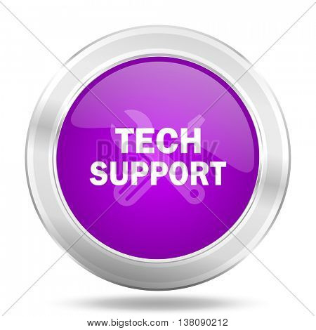 technical support round glossy pink silver metallic icon, modern design web element