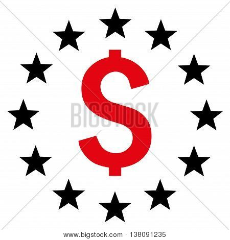 Dollar Stars vector icon. Style is bicolor flat symbol, intensive red and black colors, white background.