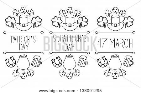 Set of St.Patrick's Day elements. Hand drawn collection of icons. symbols on white background for your design