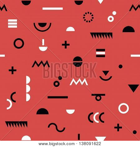 Abstract black and white geometrical modern signs and Memphis style coral background pattern