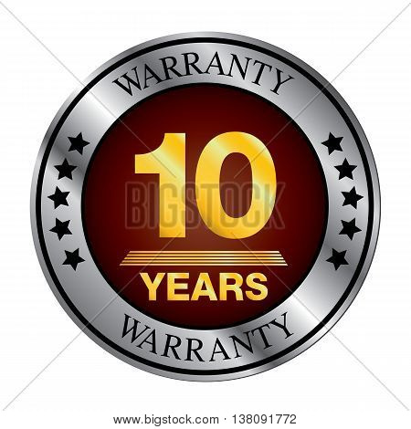 Ten year warranty logo silver color and gold color.