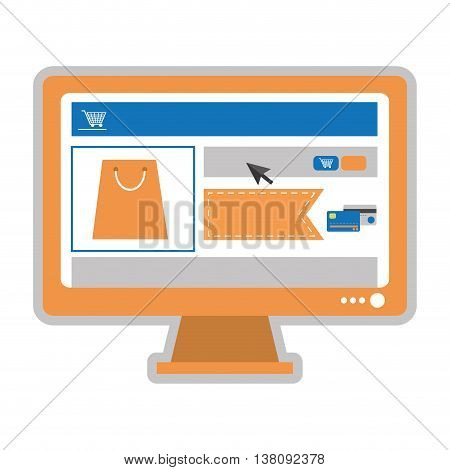 simple flat design computer monitor with shopping website on screen icon vector illustration