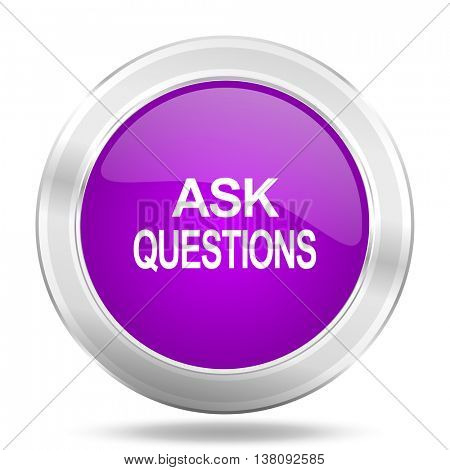 ask questions round glossy pink silver metallic icon, modern design web element