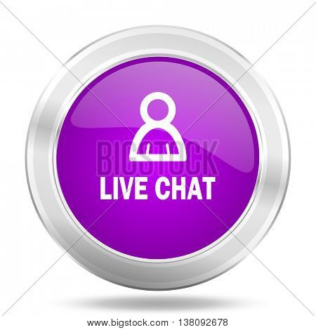 live chat round glossy pink silver metallic icon, modern design web element