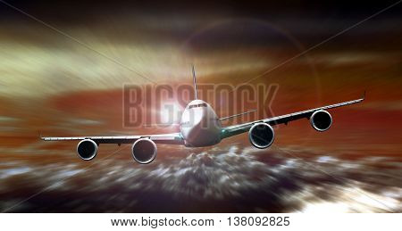 3D rendering Airplane flying during sunset with motion blur