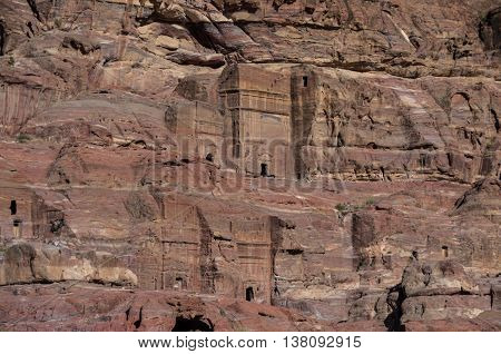 Facade of Royal Tombs. Cave tombs in Petra Jordan. No people