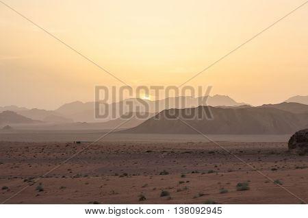 Sunset In Wadi Rum Desert(valley Of The Moon), Jordan