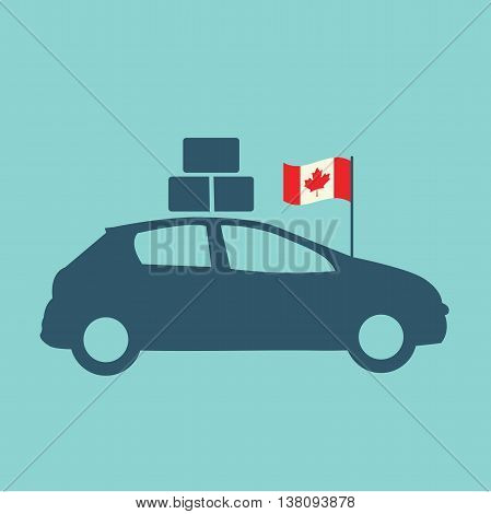 Moving to Canada - Car with Luggage and Canadian Flag