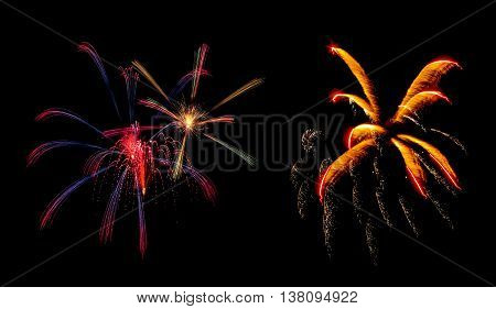 Beautiful colorful bright holiday fireworks panoramic view