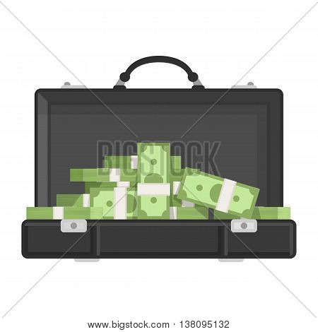 Suitcase money vector illustration in flat style, suitcase with money concept. Open suitcase full of money, business illustration. Suitcase full of money. Suitcase money concept. Suitcase money icon.
