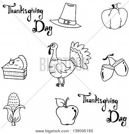 Element thanksgiving doodle vector art with hand draw
