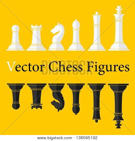 Set of Chess Figures. Complete Collection of chess pieces. Black and white. Vector Illustration.