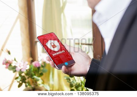 Business, Technology, Internet And Networking Concept. Young Businessman Working On The Phone In The