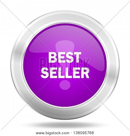 best seller round glossy pink silver metallic icon, modern design web element