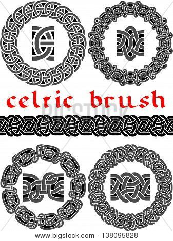 Celtic brush for design seamless vector - frame