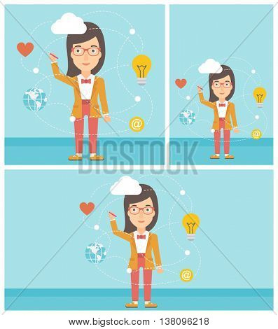 Woman writing on a virtual screen. Business woman drawing a cloud computing diagram on a virtual screen. Cloud computing concept. Vector flat design illustration. Square, horizontal, vertical layouts.