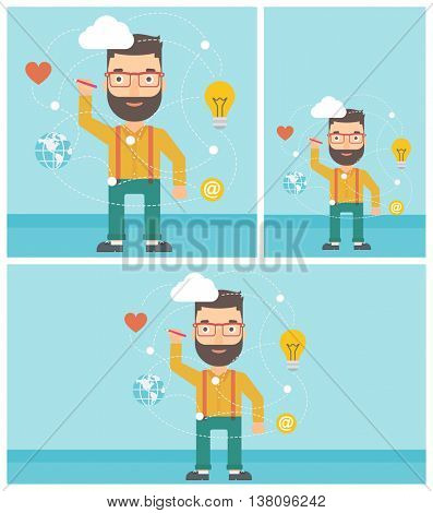 Man writing on a virtual screen. Businessman drawing a cloud computing diagram on a virtual screen. Cloud computing concept. Vector flat design illustration. Square, horizontal, vertical layouts.