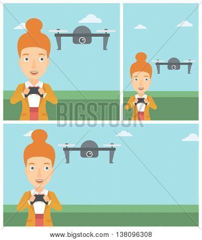 Young woman flying drone with remote control. Happy woman operating a drone with remote control. Woman controling a drone. Vector flat design illustration. Square, horizontal, vertical layouts.