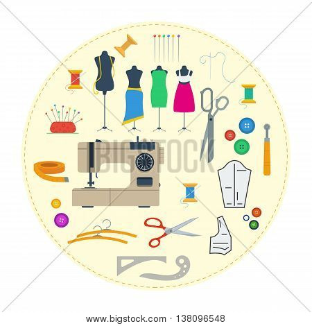Vector round concept sewing equipment. Handicraft tools and sewing kit needle sewing machine in flat style