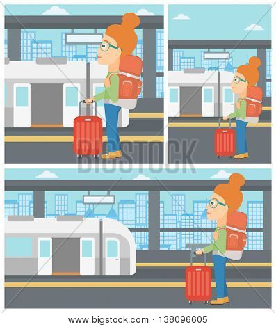 Woman standing at the train station on the background of train with open doors. Young woman with suitcase waiting for a train. Vector flat design illustration. Square, horizontal, vertical layouts.
