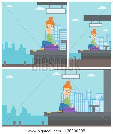 Woman sitting on a suitcase at the train station on the background of arriving train. Woman waiting for a train at the platform. Vector flat design illustration. Square, horizontal, vertical layouts.