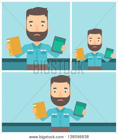 Confused man choosing between a tablet computer and a paper book. Man holding book in one hand and tablet computer in the other. Vector flat design illustration. Square, horizontal, vertical layouts.