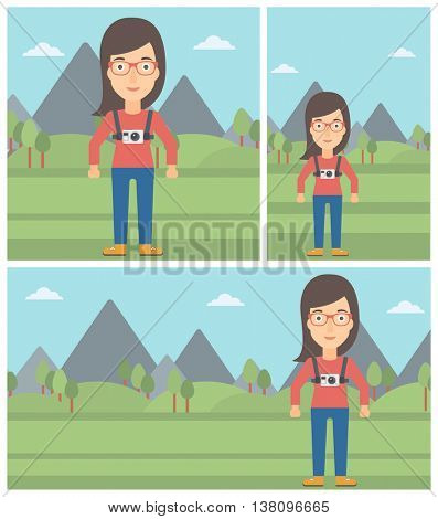 Young woman with a digital camera on her chest. Tourist with a digital camera standing on the background of mountains. Vector flat design illustration. Square, horizontal, vertical layouts.