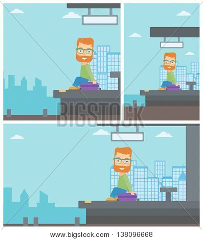 A hipster man with the beard sitting on a suitcase at the train station. Young man waiting for a train at the railway platform. Vector flat design illustration. Square, horizontal, vertical layouts.
