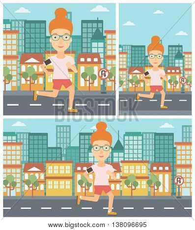 Woman running with earphones and armband for smartphone. Woman listening to music during running. Woman running in the city. Vector flat design illustration. Square, horizontal, vertical layouts.