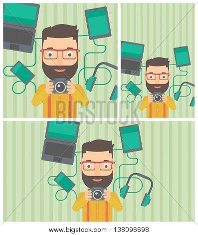 Hipster man with the beard taking photo with digital camera. Man surrounded with gadgets. Man using many electronic gadgets. Vector flat design illustration. Square, horizontal, vertical layouts.