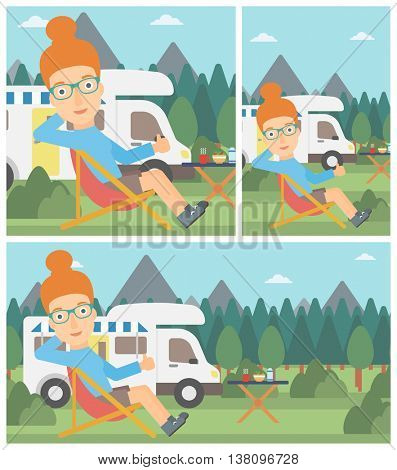 Young woman sitting in folding chair and giving thumb up on the background of camper van. Woman enjoying vacation in camper van. Vector flat design illustration. Square, horizontal, vertical layouts.