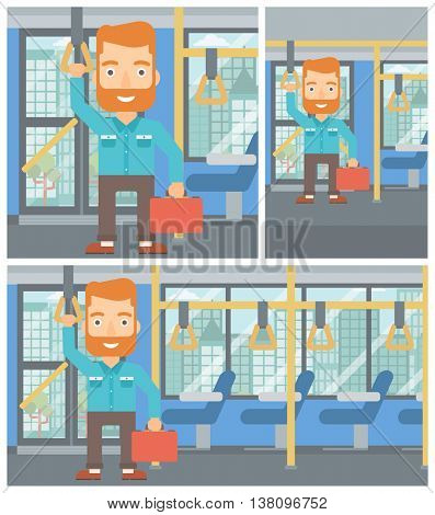Young hipster man with the beard traveling by public transport. Man traveling by passenger bus or subway. Vector flat design illustration. Square, horizontal, vertical layouts.