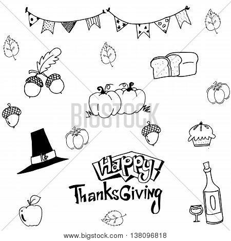 Happy Thanksgiving in doodle vector art illustration
